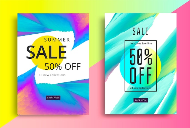 Summer sale banner with vibrant gradients shapes