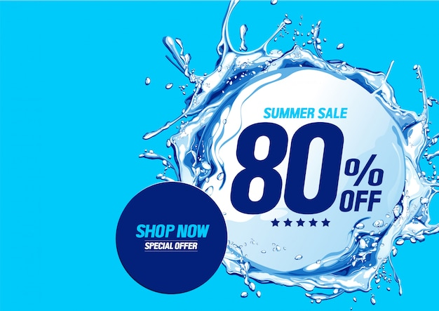 Summer sale banner with water waves circle.