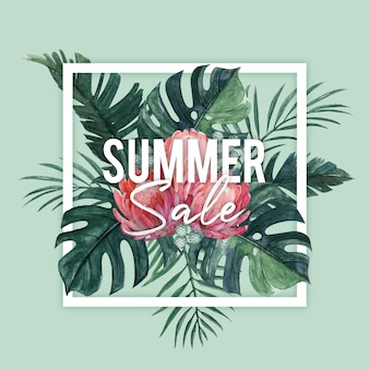 Summer sale banner with watercolor protea and tropical leaves