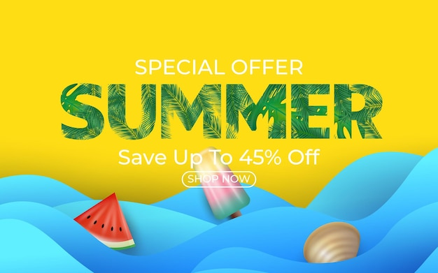 Summer sale banner with watermelon ice cream clamshell and tropical palm leaves