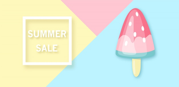 Summer sale banner with watermelon-ice cream.