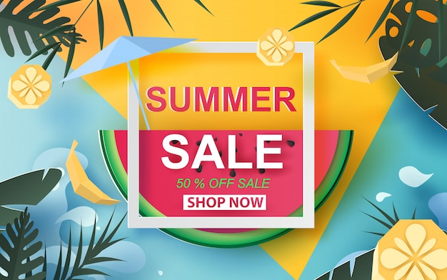 Summer sale banner with watermelon.