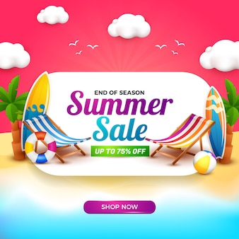 Summer sale banner with white board and 3d cartoon element