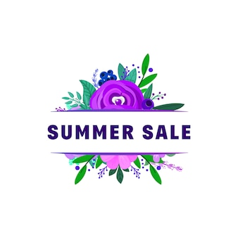 Summer sale banners decorated with flowers and plants.