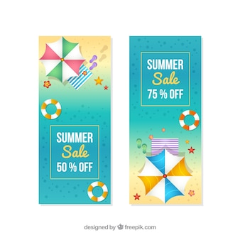 Summer sale banners in realistic style