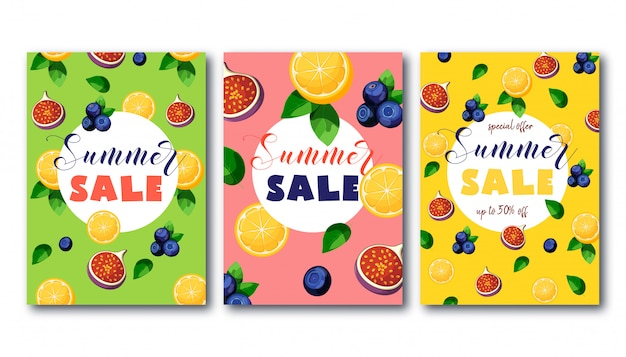 Summer sale banners set with bright colorful fruits on green, pink and yellow.