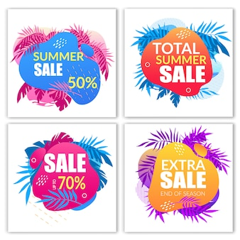 Summer sale banners set with doodle style elements