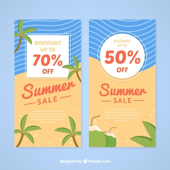 Summer sale banners with beach elements