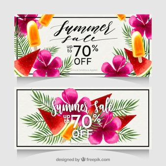 Summer sale banners with flowers in watercolot style