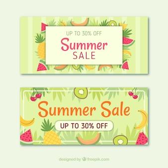 Bandiere di vendita di estate con frutta