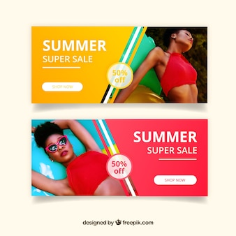 Summer sale banners with image on side