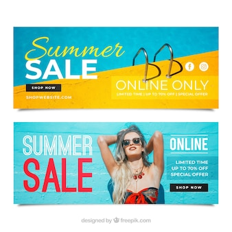 Summer sale banners with image