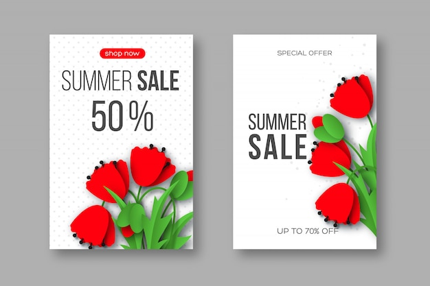 Summer sale banners with paper cut red poppy flowers and dotted pattern.