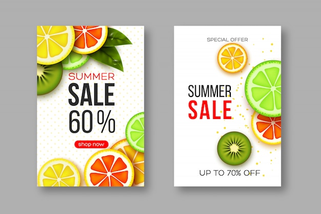Summer sale banners with sliced citrus and kiwi pieces, leaves and dotted pattern. white background - template for seasonal discounts Premium Vector