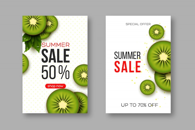 Summer sale banners with sliced kiwi pieces, leaves and dotted pattern. white background - template for seasonal discounts