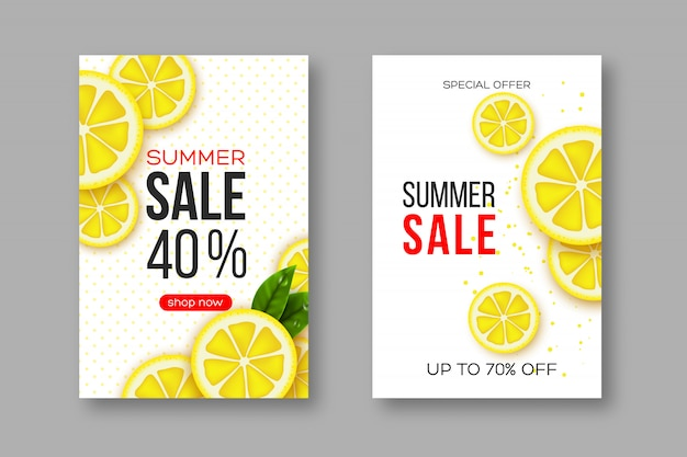 Summer sale banners with sliced lemon pieces, leaves and dotted pattern. white background - template for seasonal discounts