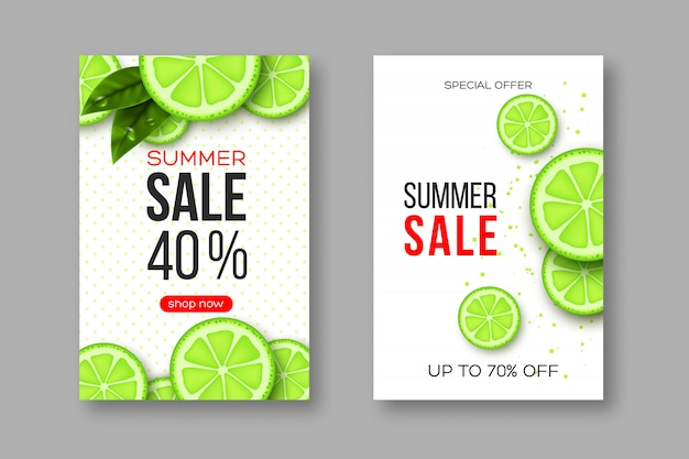Summer sale banners with sliced lime pieces, leaves and dotted pattern. white background - template for seasonal discounts
