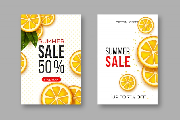 Summer sale banners with sliced orange pieces, leaves and dotted pattern. white background - template for seasonal discounts