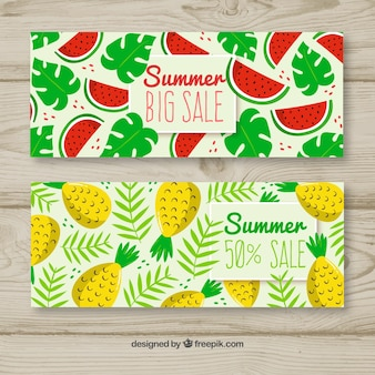Summer sale banners with watermelon and pineapple
