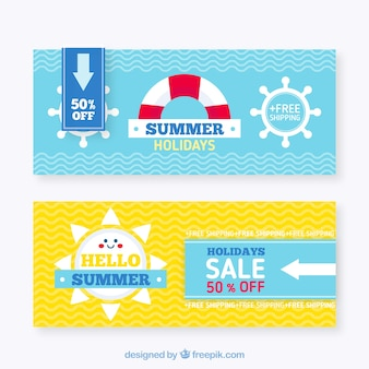 Summer sale banners with wavy lines and flat elements