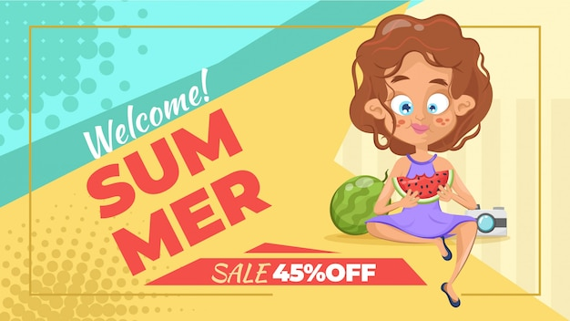 Summer sale banners with women