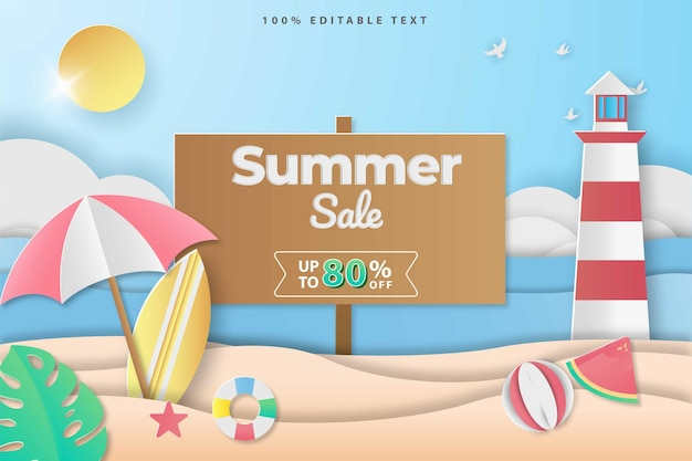 Papercut 스타일에서 여름 판매 비치 배너