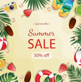 Summer sale beautiful web banner.