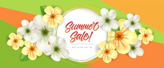 Summer sale Best offer for you lettering. Creative colorful banner with pretty flowers