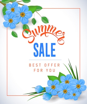 Summer sale Best offer for you lettering. Shopping inscription with small flowers in frame