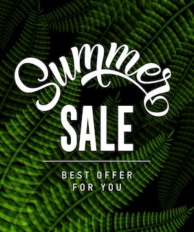 Summer sale best offer for you lettering with tropical leaves.