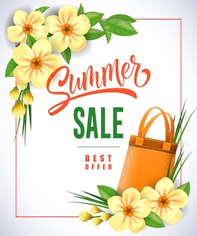 Summer sale best offer lettering in frame with shopping bag and flowers