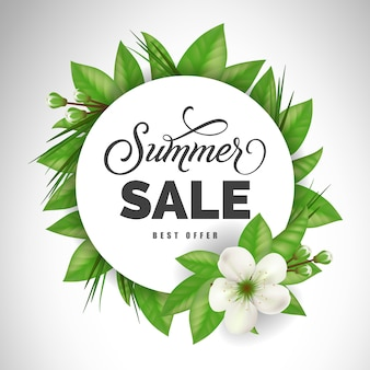 Summer sale best offer lettering in circle with white flower. Offer or sale advertising