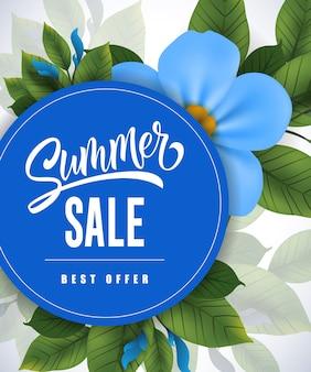Летняя распродажа. торговая надпись с летним цветком