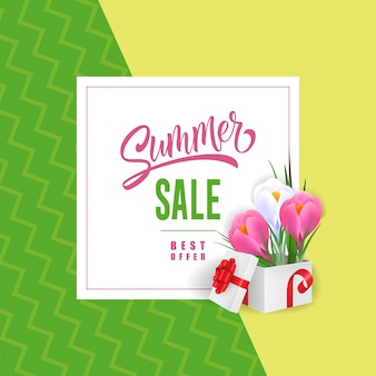 Summer sale best offer lettering with flowers in gift box.