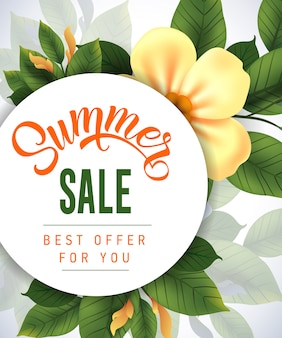 Summer sale best offer for you lettering. creative inscription with flower and leaves.