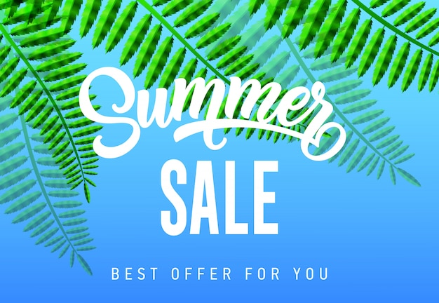 Summer sale, best offer for you seasonal banner with tropical leaves on sky blue background