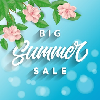 Summer sale blue background with pink flowers