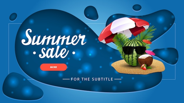 Summer sale, blue discount banner with modern design for your website