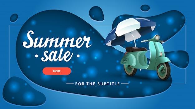 Summer sale, blue discount banner with modern design