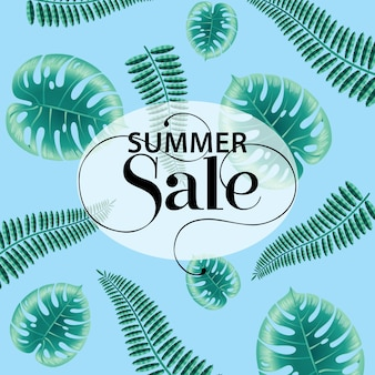 Summer sale, blue poster with monstera and fern leaves.