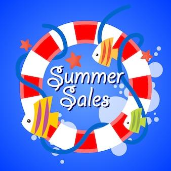 Summer sale blue sea background design