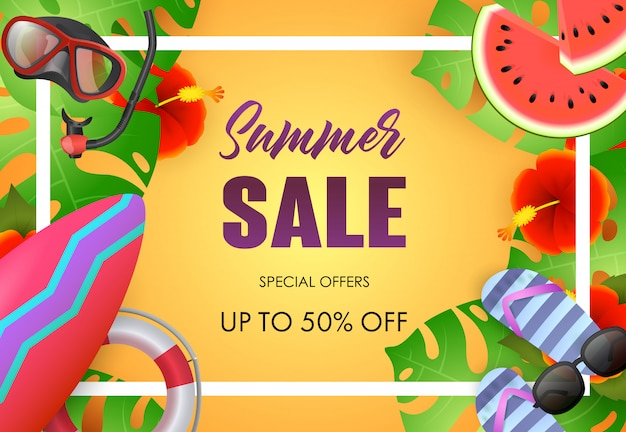 Summer sale bright poster design. sunglasses