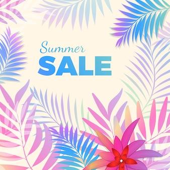 배경에 열대 야자수 잎이 있는 블루-핑크 색상의 여름 세일 밝은 포스터. 계절별 가격 인하를 위한 벡터 인사말 카드입니다.