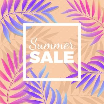 배경에 야자수 잎 여름 판매 밝은 포스터