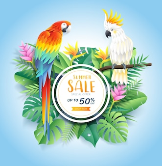 Summer sale card with cockatoo and scarlet macaw on tropical leaf flowers paper cut background