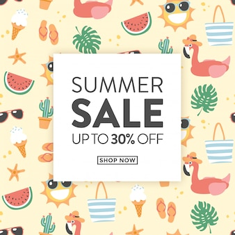 Summer sale card with cute summer themed illustrations ideal for shops with promotional products for the summer