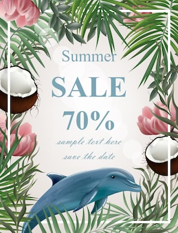 Summer sale card with palm trees and dolphin