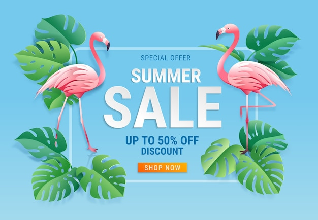 Summer sale card with two pink flamingo on tropical leaf paper cut background