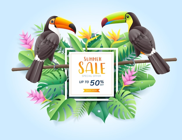 Summer sale card with two toco toucans on tropical leaf flowers paper cut background
