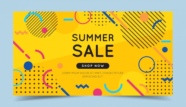 Summer sale colorful banner with trendy abstract geometric elements and bright background.
